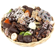 Chocolate Jumble Round Wicker Gift Tray