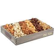 Wooden Nut Line-Up Gift Basket - Medium