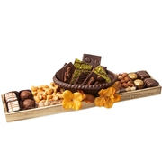 Elegant Wooden Gift Tray With Chocolate Basket Gift