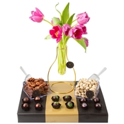 Elegant Fresh Flowers Vase Chocolate & Nuts Gift Basket