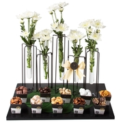 Elegant Fresh Flowers Test Tube Vase Chocolate & Nuts Gift Basket