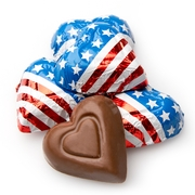 Patriotic Foiled Milk Chocolate Hearts