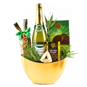 Purim Classic Oval Golden Gift Basket
