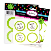 Green Favor Sticker Labels 20ct