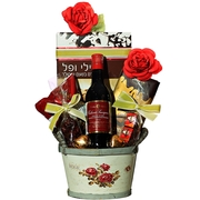 Purim Wooden Rose Basket (Israel Only)