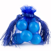 Royal Blue Mesh Favor Bags With Tassels - 12CT
