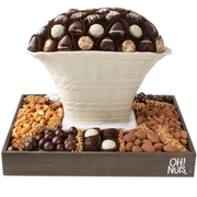 Oval Chocolate Vase with Chocolate and Nuts / Non Dairy Kosher Gift Basket
