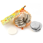 Hanukkah Green Apple Taffy Gelt Mesh Bags Silver Coins - 22CT Box