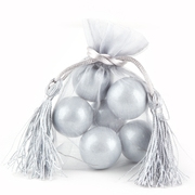 Silver Mesh Favor Bags With Tassels - 12CT