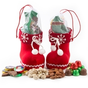 Holiday Santa Booties With Goodies - Snowflake