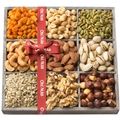 Holiday Nuts Gift Basket, 9 Variety Mixed Nut Assortment Wood Tray Baskets, Gourmet Christmas Freshly Roasted Healthy Food Care Package for Corporate, Mothers, Fathers Day or Thanksgiving