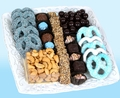Baby Boy Ceramic Lace Gift Tray w Chocolate & Nuts