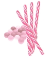 Pink Bubble Gum Candy Sticks