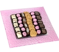 Baby Girl Square Glass Parve Chocolate Gift Tray
