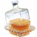 Comb Honey Topped Square Glass Dish
