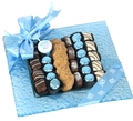 Baby Boy Square Glass Parve Chocolate Gift Tray