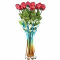 Dozen of Red Milk Chocolate Roses Glass Vase
