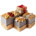 Oh! Nuts® Gift Tower for Christmas Holiday & Thanksgiving, Gourmet Large Assortment Food Basket Features Caramel Candy Chocolate Pretzels & High-end Popcorn Snack, Happy Merry Corporate Prime Gifting