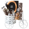 PLAYFUL - White Metal Tricycle Purim Gift Basket Mishloach Manos
