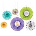 Baby Pastel Fan Decorations - 6CT
