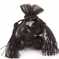 Black Mesh Favor Bags With Tassels - 12CT