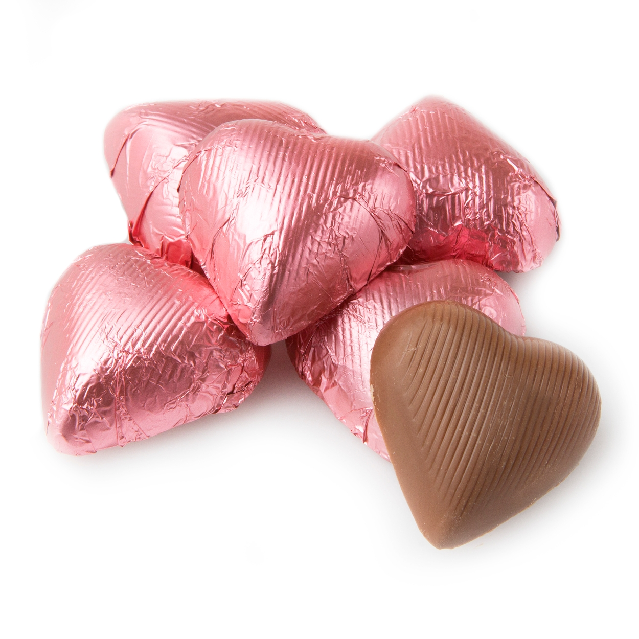 Bright Pink Foiled Milk Chocolate Hearts • Chocolate Candy Delights ...