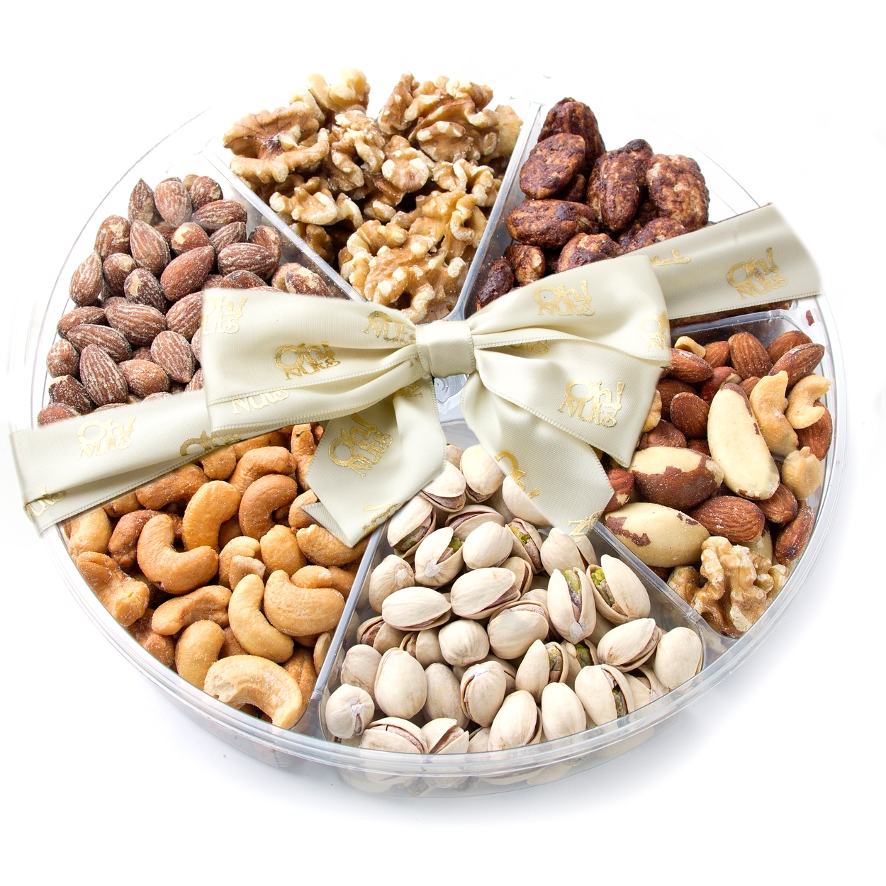 6-Section Assorted Nut Platter - Nuts Gift Basket • Oh! Nuts®