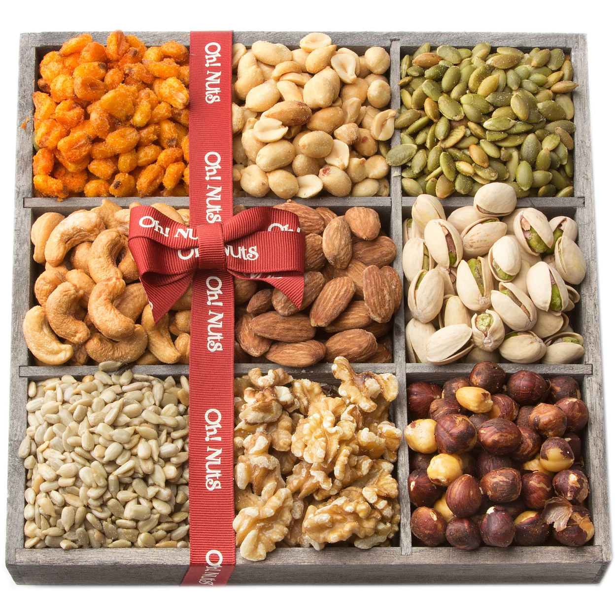 Oh! Nuts® Holiday Nuts Gift Basket, 9 Variety Mixed Nut Assortment ...