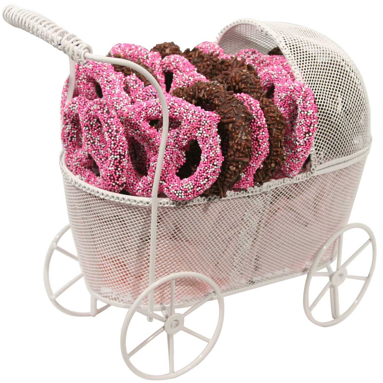 Chocolate Covered Pretzels Baby Girl Gift Basket • New Baby Gifts ...