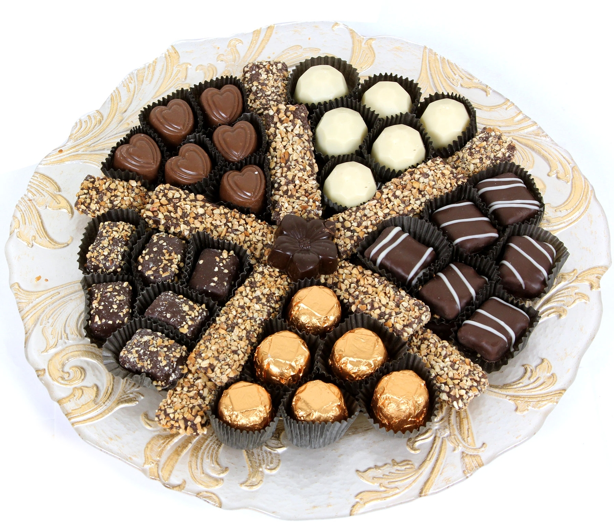 Elegant Glass Chocolate Gift Tray - Gold • Non-Dairy (Parve) Dark ...