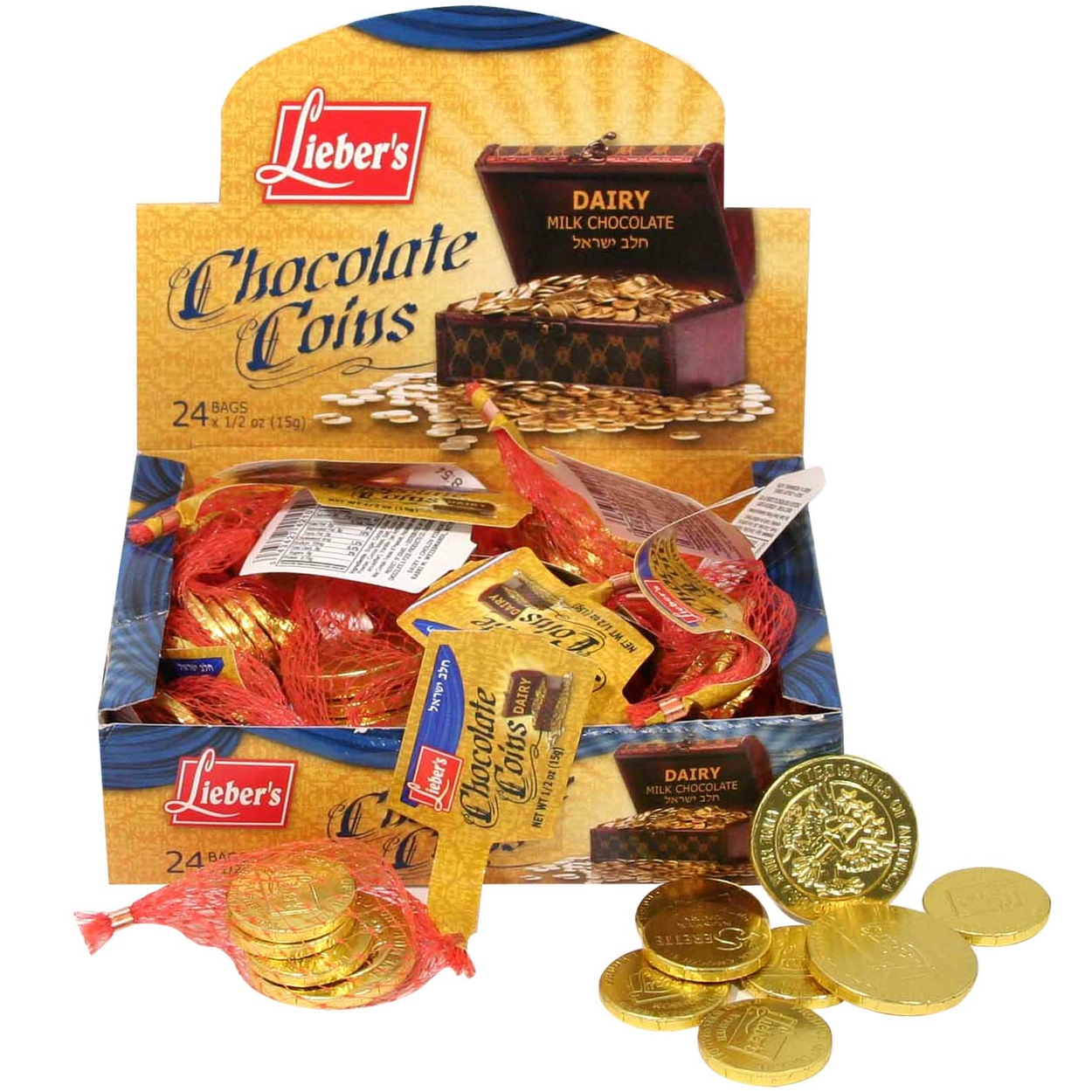 Passover Milk Chocolate Coins - Case of 24 Bags • Passover Foiled ...