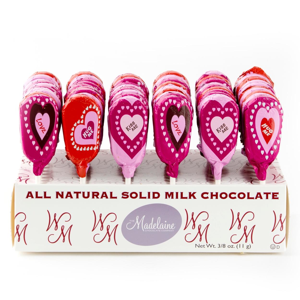 valentine heart milk chocolate lollipops 36ct display box valentine candy chocolate valentines day gifts oh nuts - Valentine Lollipops