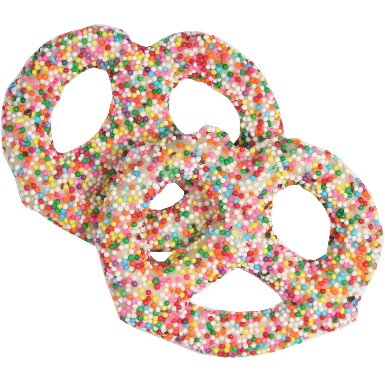 White Chocolate Covered Pretzels with Rainbow Nonpareils - 10CT ...