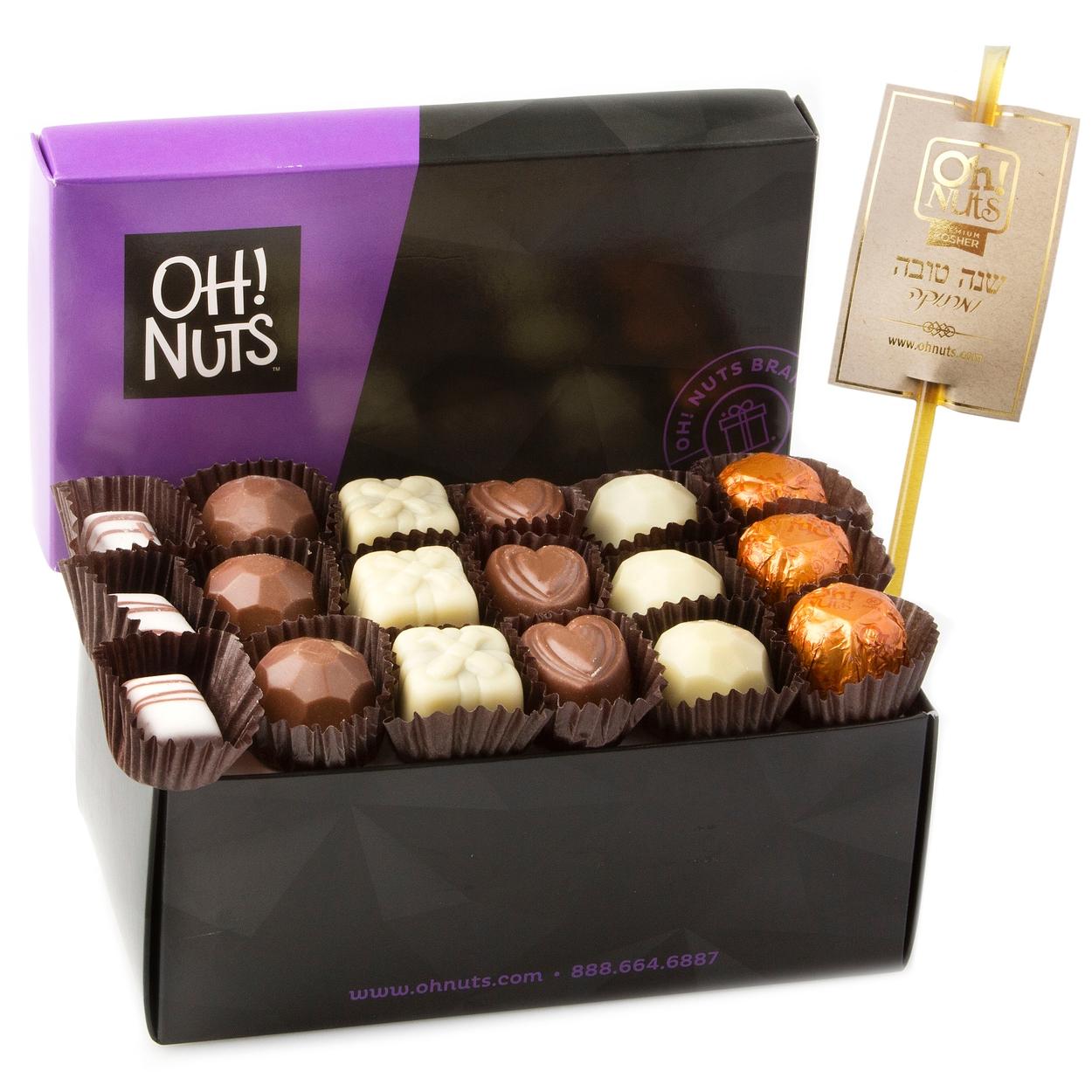 Rosh hashanah gift baskets and honey gifts oh nuts hashanah chocolate truffle box 18 pc kristyandbryce Choice Image