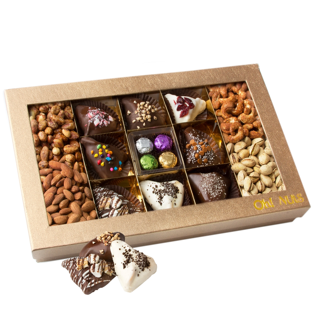 large purim hamantaschen truffles gift box shalach manot trays