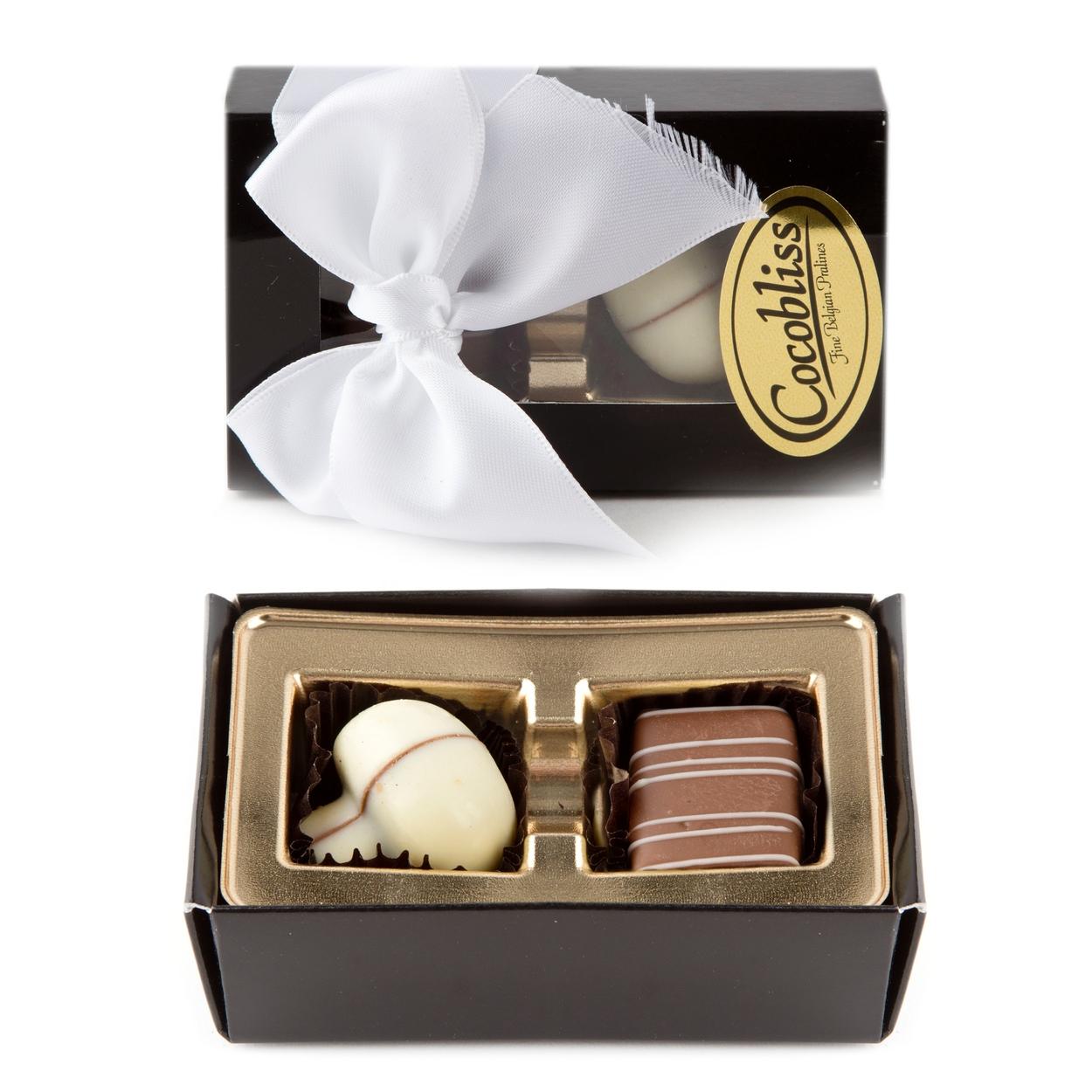 Premium Belgium Truffles Black Box - 2 PC Box • Chocolate Gift Boxes ...