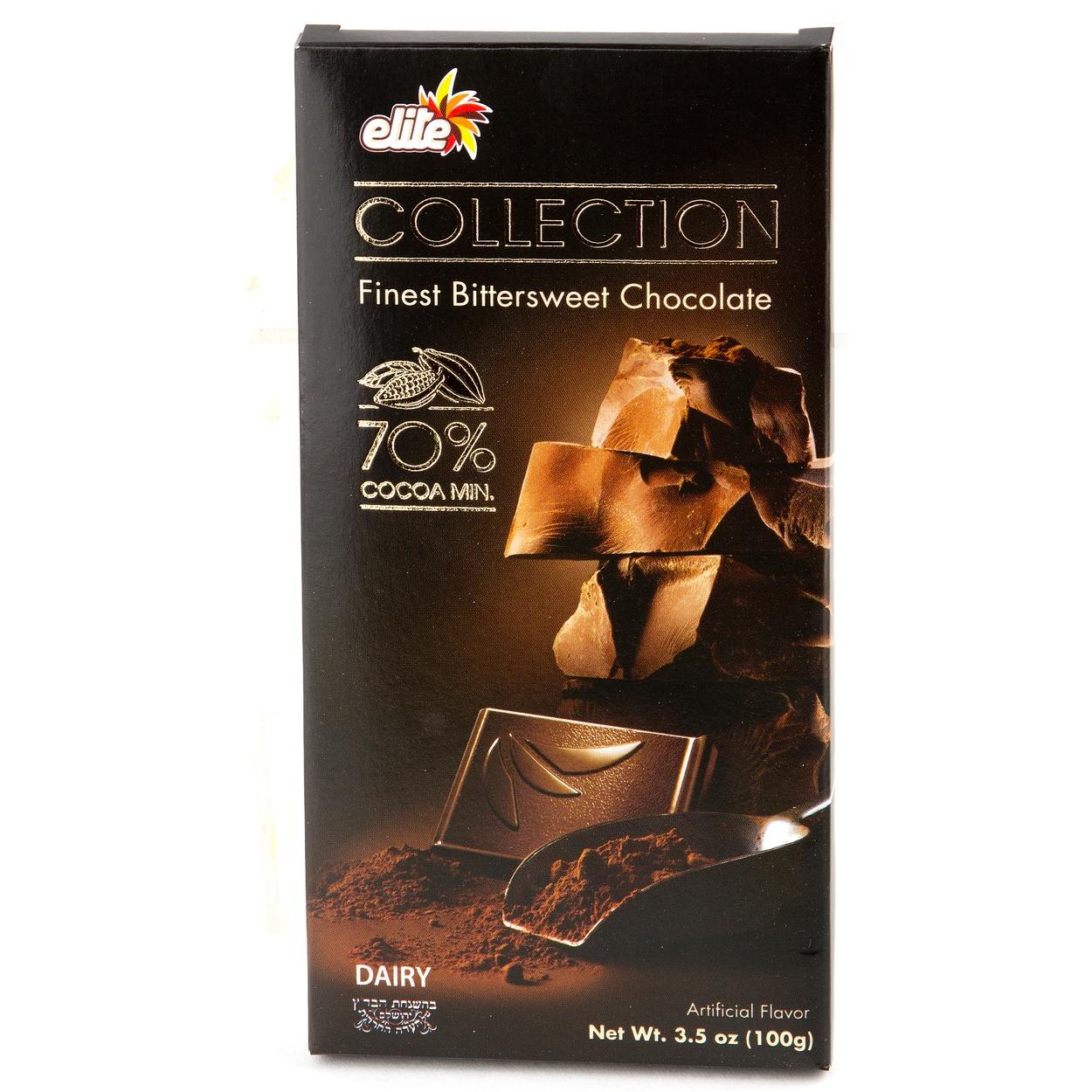 Elite Collection 70% Cocoa Bittersweet Chocolate Bar • Elite ...
