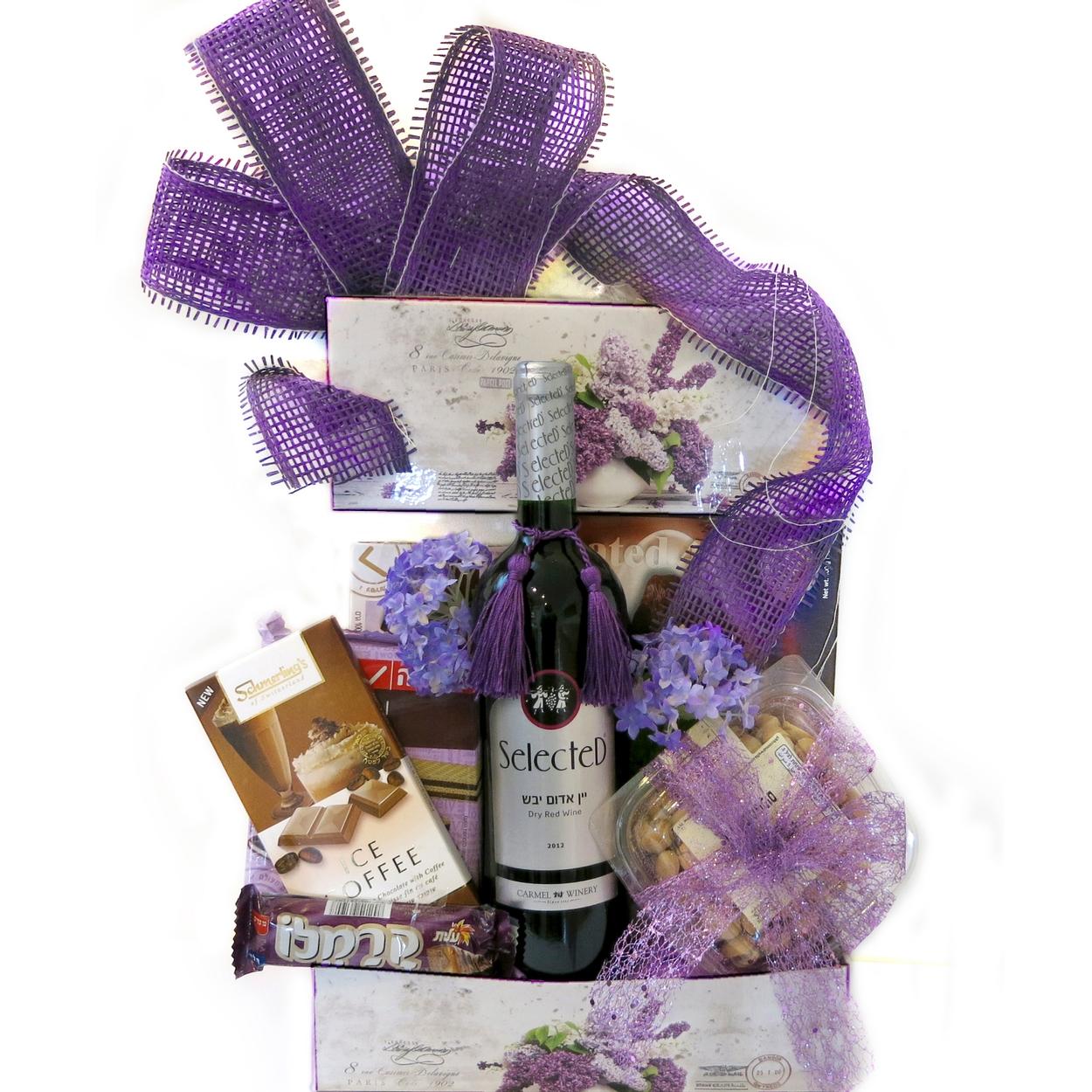 lavender purim display israel only purim baskets