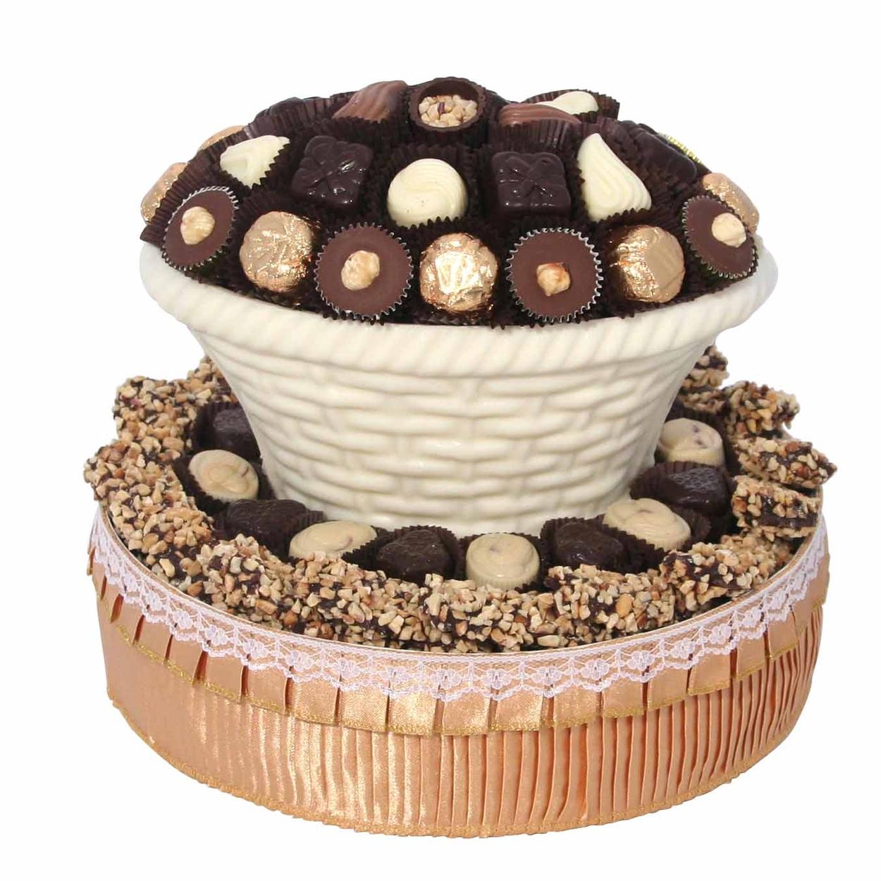 Round White Chocolate Gift Basket • Chocolate Mold Gift Baskets ...