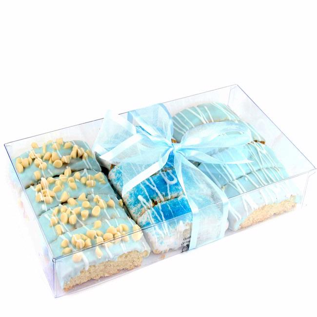 Baby Boy Gift Box : Baby boy blue chocolate biscotti gift box gourmet