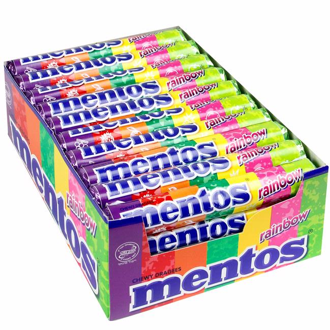 Mentos Rainbow Roll Fruit Mentos Rolls 40ct Case