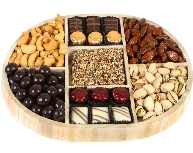 Oval 7 Section Nuts Amp Chocolate Wooden Tray Nuts