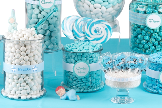 Charming Baby Boy Shower Candy Buffet