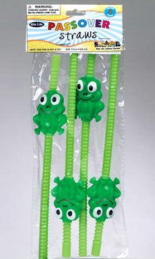 Passover Frog-Shaped Straws - 4-Pack
