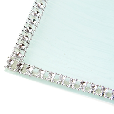 Baby Girl Silver Trim Glass Tray