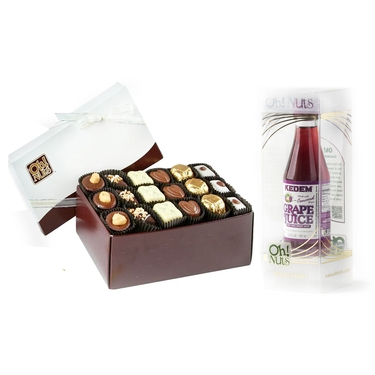 Oh! Nuts Purim Gift Box with Grape Juice