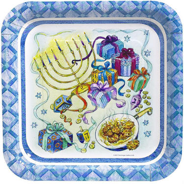 Chanukah Glimmer Square Paper Plates