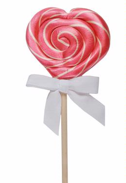 Handmade Heart Bubble Gum Twist Lolly - 6PK