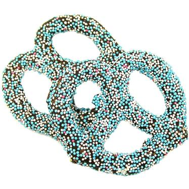 Chocolate Covered Pretzels with Blue Nonpareils - 10CT