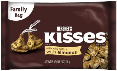 Gold Milk Chocolate Hershey's Kisses - Almonds - 18 oz Bag
